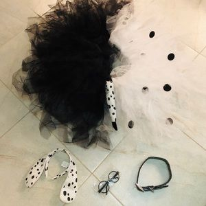 DALMATIAN BUNDLE TUTU TAIL HEADBAND GLASSES COLLAR